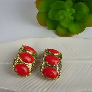 Vintage 3 Cherry Red & Gold Clip On Earrings